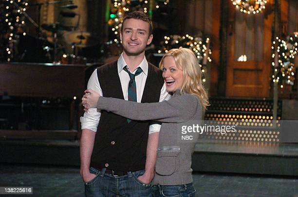 LIVE Episode 9 Aired Pictured SNL host and musical guest Justin Timberlake shoots a promo with cast member Amy Poehler for his episode on December 16...