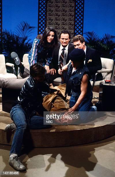 Episode 9 - Pictured: Brad Hall as Casey Fox, Tim Kazurinsky as Slip, Gary Kroeger as Lucky, Julia Louis-Dreyfus as Amy Bowles, Jim Belushi as Dave...