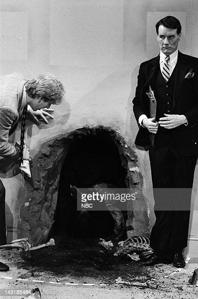 Brad Hall as Larry Palmer Michael Palin as salesman during the 'Man On A Chain' skit on January 21 1984 Photo by