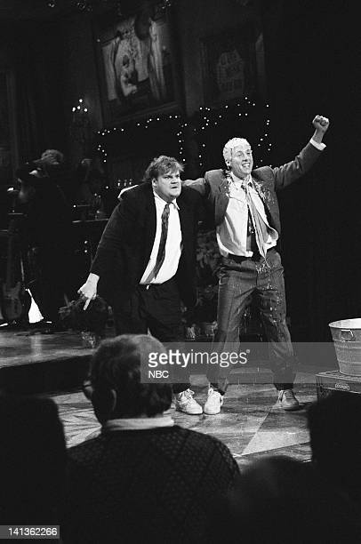 Chris Farley Adam Sandler as brothers during the Energy Brothers skit on December 14 1991 Photo by Raymond Bonar/NBCU Photo Bank