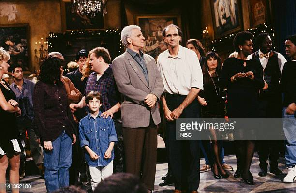 Chris Farley Steve Martin James Taylor Ellen Cleghorne onstage December 14 1991 Photo by Raymond Bonar/NBCU Photo Bank