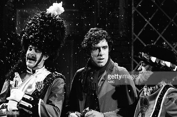 Dan Aykroyd as Spirit of Blended Scotch Whiskey Elliott Gould as witness and Tom Malone as tuba player during the 'Alcoholic's Christmas' skit on...