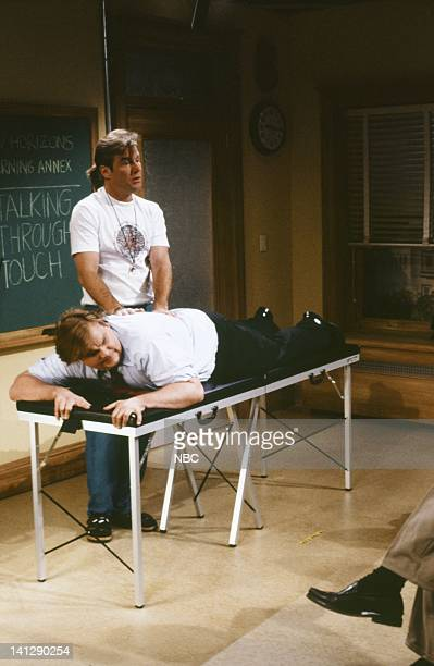 Denis Quaid as Todd Skyler Chris Farley as Ned Crowley during the 'Talking Through Touch' skit on December 15 1990 Photo by Raymond Bonar/NBC/NBCU...