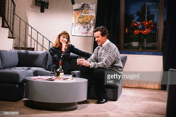 Jan Hooks as Leslie Phil Hartman as Dan during The Honest Man skit on January 24 1987