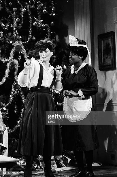 Jane Curtin as Joan Crawford and Yvonne Hudson as Bula during the 'Mommie Dearest' skit on December 16 1978 Photo by NBC/NBCU Photo Bank