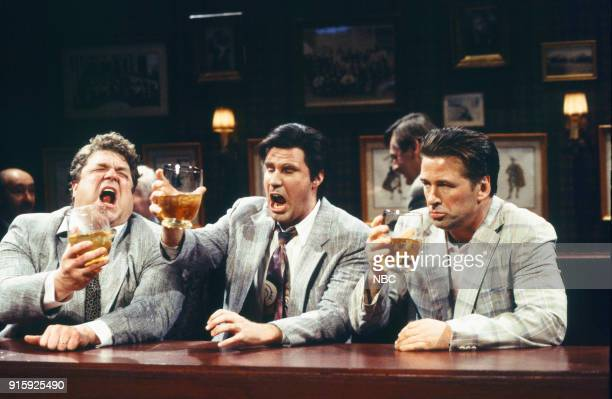 John Goodman as Ted Will Ferrell as Hank Alec Baldwin as drunk salesman during the 'Bull Bear' skit on December 12 1998 Photo by Mary Ellen...