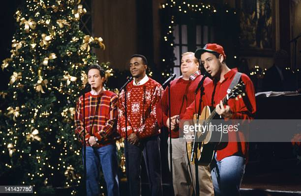 Rob Schneider Tim Meadows Chris Farley Adam Sandler during the 'Santa Don't Like Bad Boys' skit on December 11 1993 Photo by Gene Page/NBC/NBCU Photo...