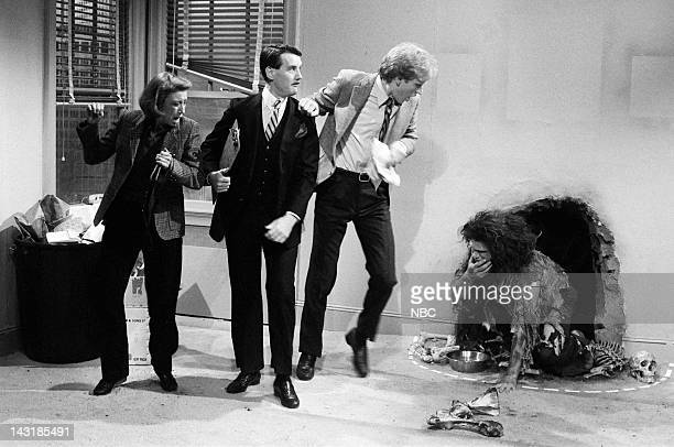 Robin Duke as Mrs Palmer Michael Palin as salesman Brad Hall as Larry Palmer Jim Belushi as man on chain during the 'Man On A Chain' skit on January...