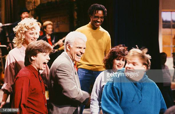 Victoria Jackson Mike Myers Steve Martin Tim Meadows Julia Sweeney Chris Farley during Cold Opening on December 14 1991 Photo by Raymond Bonar/NBCU...