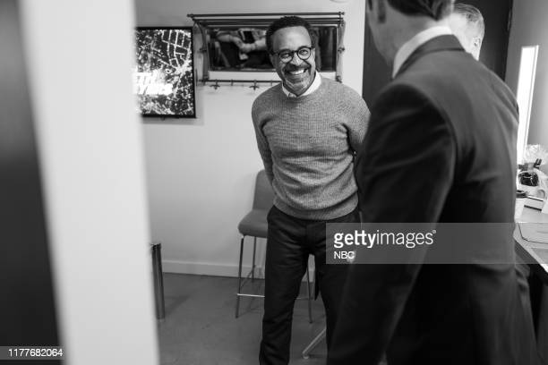 MEYERS Episode 900 Pictured Actor/comedian Tim Meadows talks with host Seth Meyers backstage on October 22 2019