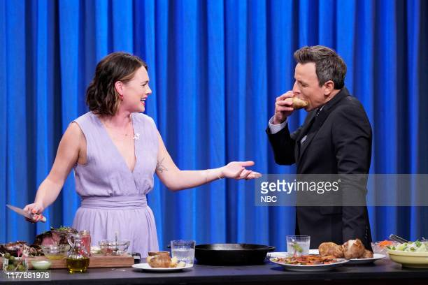 Food columnist Alison Roman during a cooking segment with host Seth Meyers on October 22 2019