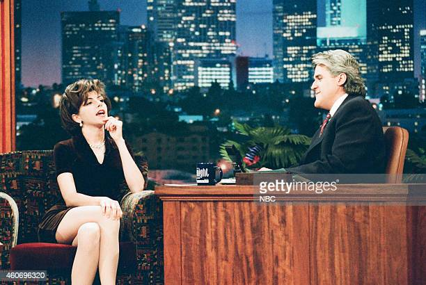 Actress Amy Pietz during an interview with host Jay Leno on April 15 1996