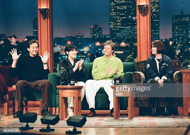 Actor Joe Flaherty talk sho host Ricki Lake actor Jack Wagner and musical guest Jann Arden during an interview on April 16 1996