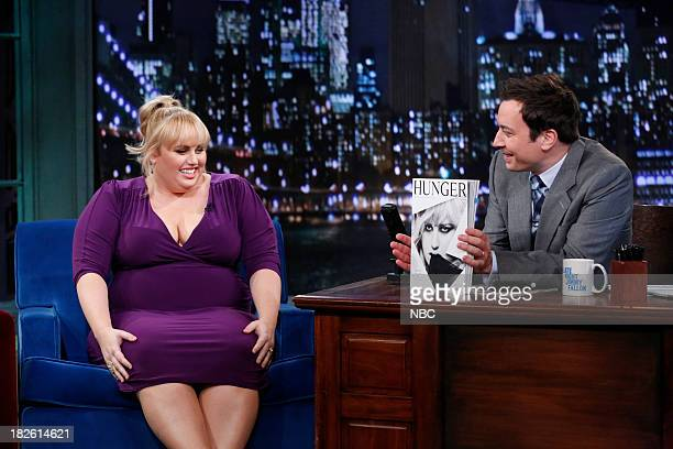 Rebel Wilson with host Jimmy Fallon during an interview on October 1 2013