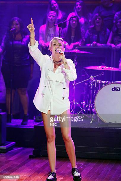 Music guest Miley Cyrus performs 'Wrecking Ball' on Tuesday October 8 2013
