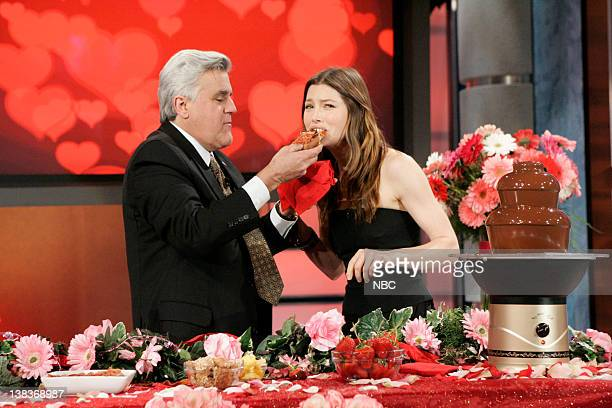Host Jay Leno with actress Jessica Biel during the 'Earn Your Plug' segment on February 3 2010