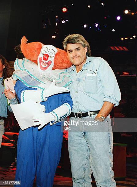Joey D'Auria as Bozo the Clown and host Jay Leno during rehearsal on May 1 1996
