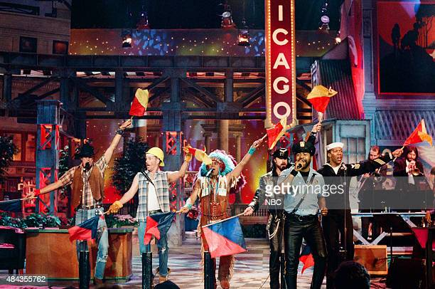 G Jeff Olson David Hodo Felipe Rose Eric Anzalone Ray Simpson Alex Briley of 'The Village People' perform in Chicago on May 2 1996