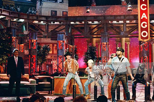 G Jeff Olson David Hodo Felipe Rose Ray Simpson Eric Anzalone of 'The Village People' perform in Chicago on May 2 1996