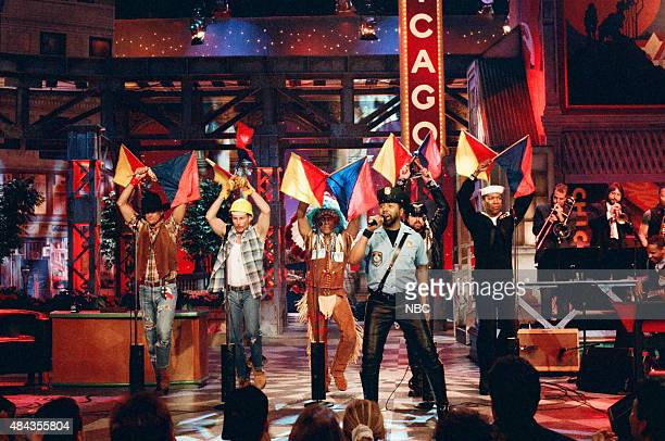 G Jeff Olson David Hodo Felipe Rose Ray Simpson Eric Anzalone Alex Briley of 'The Village People' perform in Chicago on May 2 1996