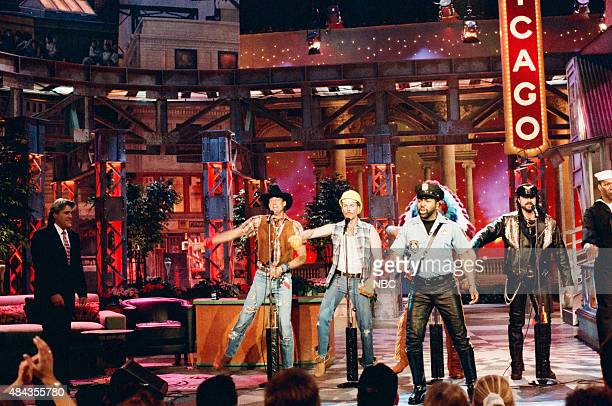 G Jeff Olson David Hodo Ray Simpson Eric Anzalone of 'The Village People' perform in Chicago on May 2 1996