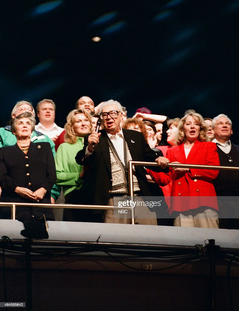 Sportscaster Harry Caray during the '7th inning stretch' in Chicago on May 2, 1996 --