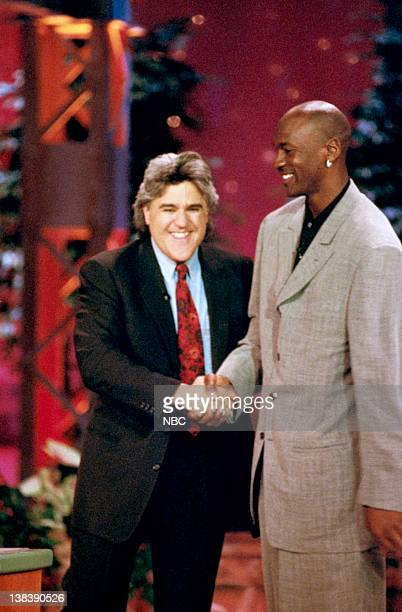 Episode 915 -- Pictured: Host Jay Leno with basketball star Michael Jordan on May 5, 1996