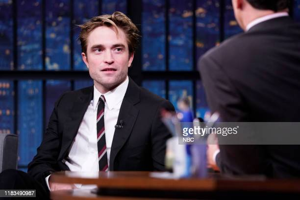 Episode 916 -- Pictured: Actor Robert Pattinson during an interview with host Seth Meyers on November 19, 2019 --