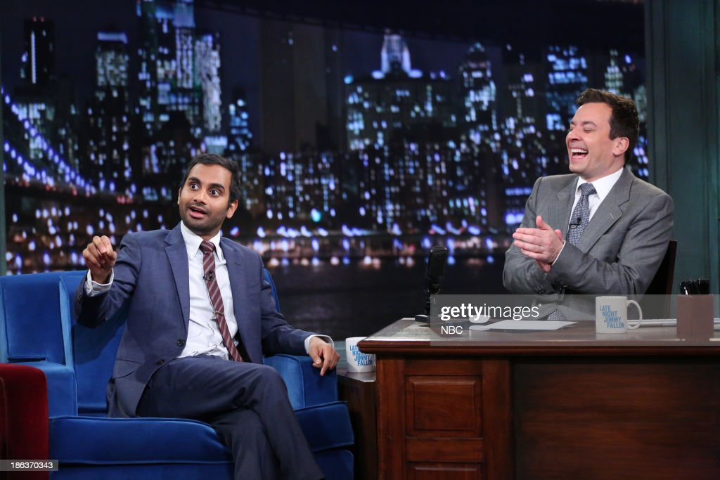 Aziz Ansari with host Jimmy Fallon during an interview on Wednesday, October 30, 2013 --