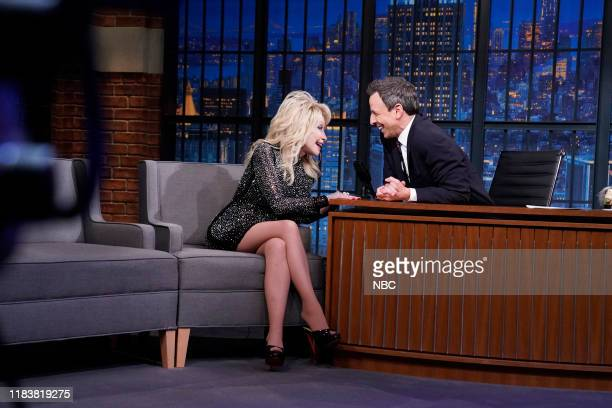 Singer Dolly Parton during an interview with host Seth Meyers on November 21 2019