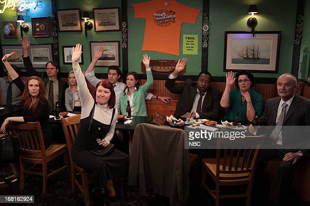 Episode 922 -- Pictured: Catherine Tate as Nellie Bertram, Rainn Wilson as Dwight Schrute, Angela Kinsey as Angela Martin, Kate Flannery as Meredith...