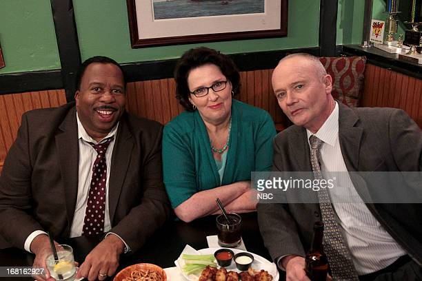 Episode 922 -- Pictured: Leslie David Baker as Stanley Hudson, Phyllis Smith as Phyllis Vance, Creed Bratton as Creed Bratton --
