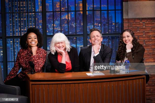 Writer Amber Ruffin Hilary Meyers host Seth Meyers writer Jenny Hagel on November 28 2019