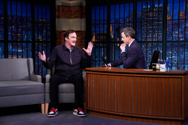 """NY: NBC'S """"Late Night With Seth Meyers"""" With Guests Quentin Tarantino, Aisling Bea, Michael Lewis (Band Sit-In: Coady Willis)"""