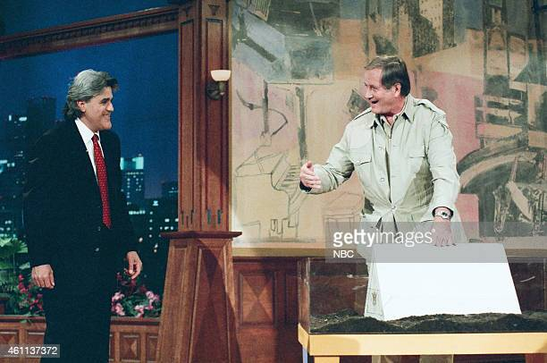 Host Jay Leno during with zoologist Jim Fowler during an interview on May 15 1996