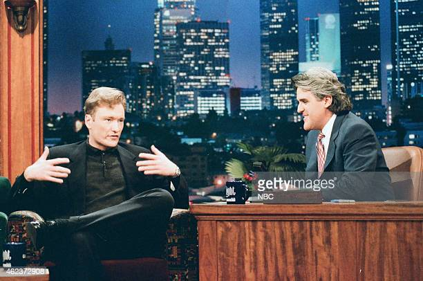 Episode 926 -- Pictured: Talk show host Conan O'Brien during an interview with Jay Leno on May 20, 1996 --