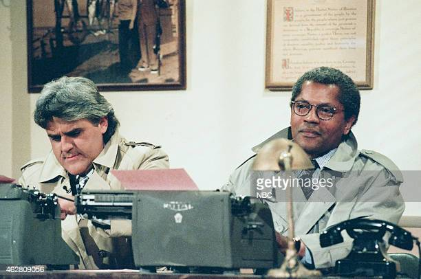 Host Jay Leno and actor Clarence Williams III during the Crime Novel sketch on May 23 1996