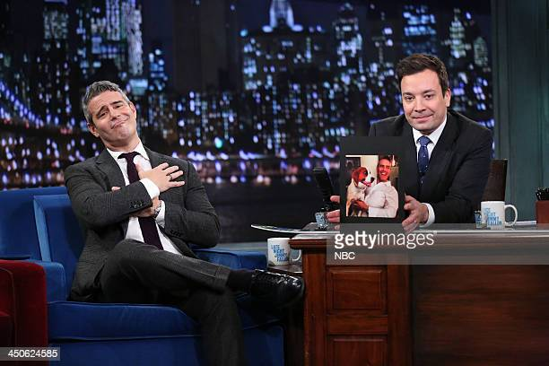 Episode 932 -- Pictured: Andy Cohen with host Jimmy Fallon during an interview on Tuesday, November 19, 2013 --