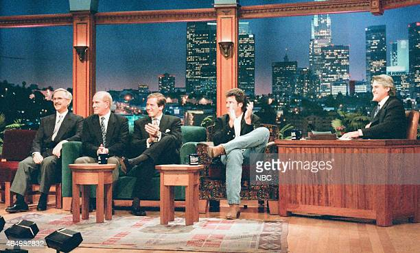 Comedians Dick Smothers and Tom Smothers of the Smothers Brothers news anchor Brian Williams and singer Vince Gill during an interview with host Jay...