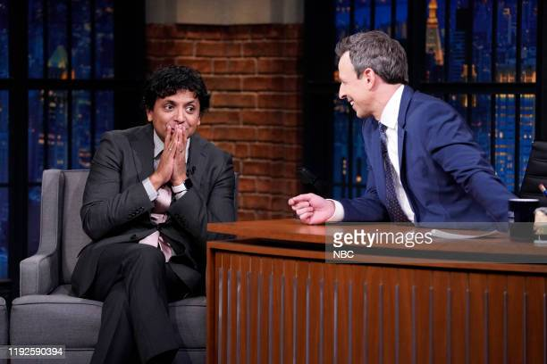 Filmmaker M Night Shyamalan during an interview with host Seth Meyers on January 8 2020