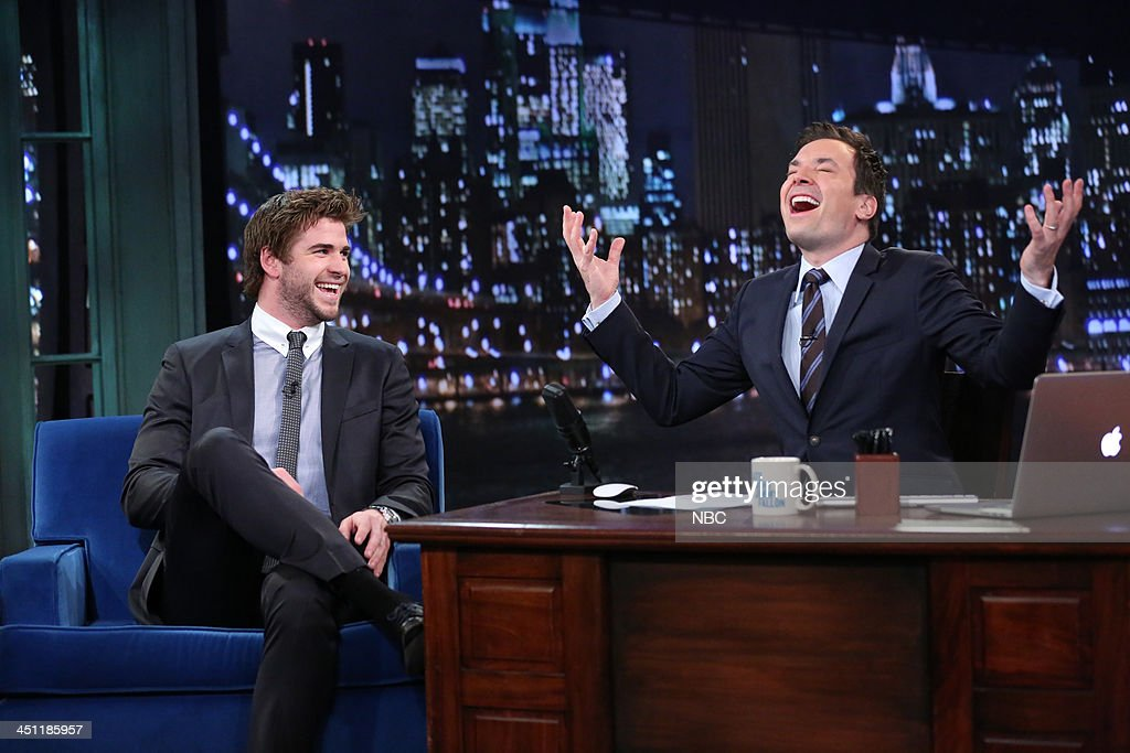 Liam Hemsworth with host Jimmy Fallon during an interview on Thursday, November 21, 2013 --