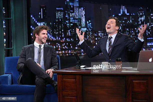 Liam Hemsworth with host Jimmy Fallon during an interview on Thursday November 21 2013