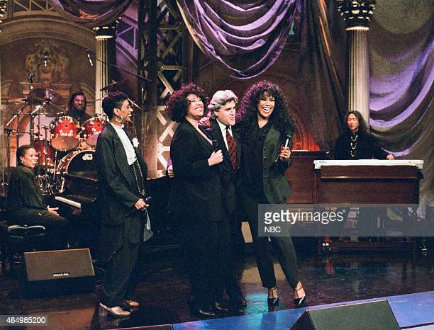 Ruth Pointer Anita Pointer and June Pointer of the musical guest The Pointer Sisters with host Jay Leno on June 3 1996