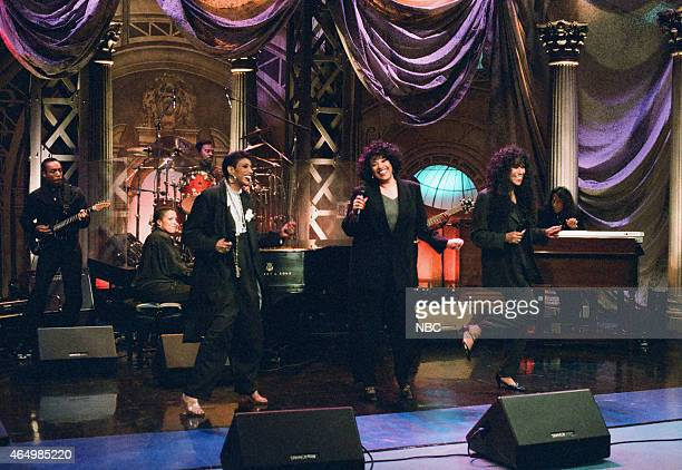 Ruth Pointer Anita Pointer and June Pointer of the musical guest The Pointer Sisters perform on June 3 1996