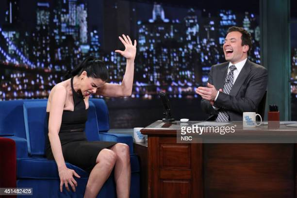 Sarah Silverman with host Jimmy Fallon during an interview on Friday November 22 2013