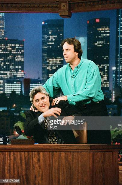 Episode 936 -- Pictured: Host Jay Leno during an interview with host actor Kevin Nealon on June 4, 1996 --