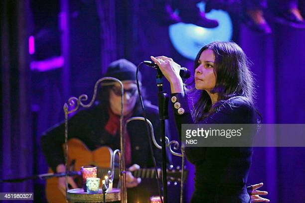 Musical guests David Roback Hope Sandoval of Mazzy Star perform California on Monday November 25 2013
