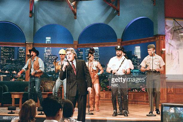 G Jeff Olson David Hodo Felipe Rose Jay Simpson Eric Anzalone and Alex Briley of The Village People with host Jay Leno during 'Ask Jay Anything' on...