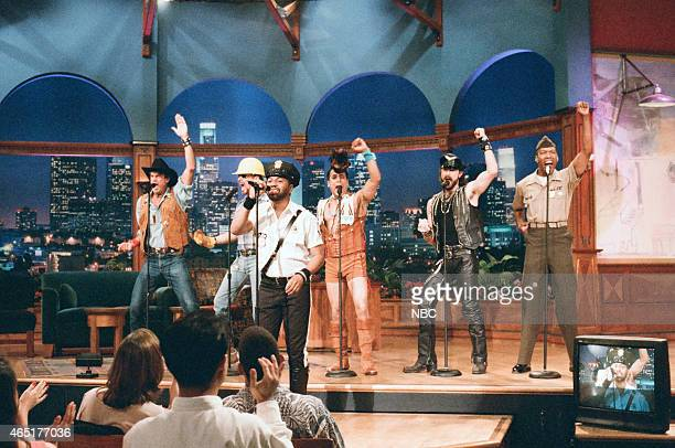 G Jeff Olson David Hodo Ray Simpson Felipe Rose Eric Anzalone and Alex Briley of The Village People during 'Ask Jay Anything' on June 7 1996