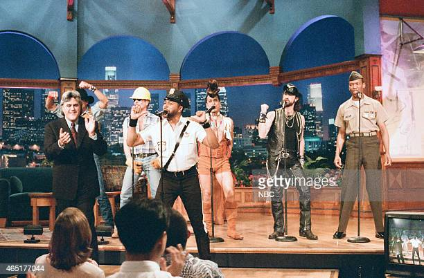 Host Jay Leno with G Jeff Olson David Hodo Ray Simpson Felipe Rose Eric Anzalone and Alex Briley of The Village People during 'Ask Jay Anything' on...